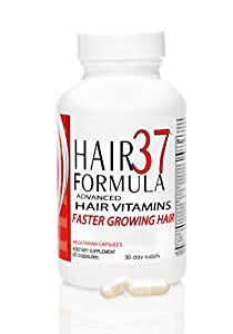 Hair Vitamins for Faster Hair Growth ADVANCED Hair Formula 37 Hair Vitamins Best Hair Growth Vitamins 1 month Supply 60 Vegetarian Capsules