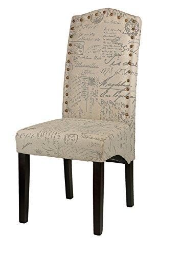 Cortesi Home Miller Dining Chair in Beige Script Fabric (Set of 2), Beige 2