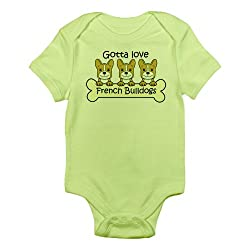 CafePress Three French Bulldogs Infant Bodysuit - 0-3M Kiwi