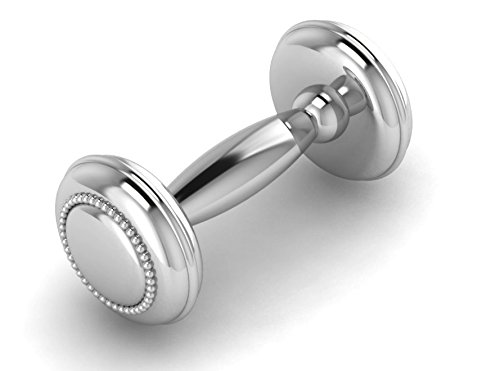 Krysaliis Beaded Sterling Dumbbell Rattle, Silver