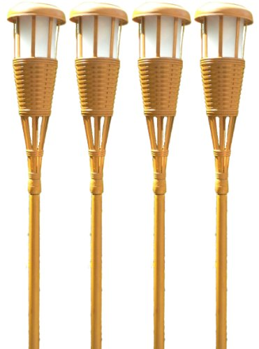 Newhouse Lighting Tikiled4 Solar Flickering Tiki Torches, 4-Pack