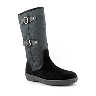 Coach Tinah Womens Size 11 Black Textile Fashion - Mid-Calf Boots