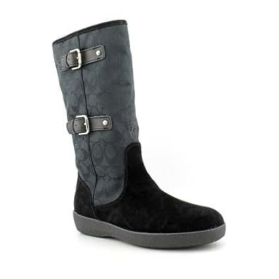 Coach Tinah Womens Size 9.5 Black Textile Fashion Mid-Calf Boots