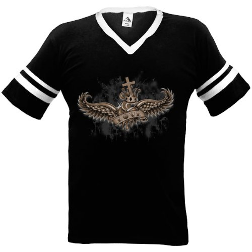 Crowned Love Mens Ringer T-Shirt, Winged Heart And Crown Old School Tattoo Style Design Mens V-Neck Shirt, Xx-Large, Black/White