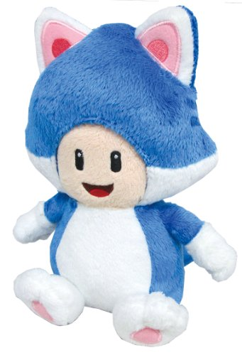 "Sanei Super Mario 3D World Neko Cat Toad 7.5"" Plush Doll"