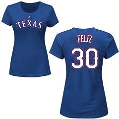 Neftali Feliz Texas Rangers Royal Ladies Player T-Shirt by Majestic by Majestic
