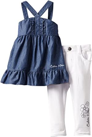 Calvin Klein Baby-Girls Infant Tunic with Pants, Blue, 12 Months