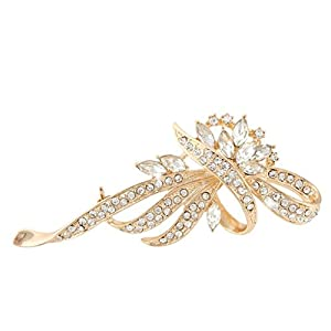Flower Wave Brooch Clear Austrian Crystal Gold-Tone N03878-3