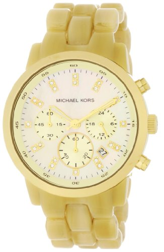 Michael Kors Ladies Chronograph Watch with Acrylic Bracelet Strap and Champagne Dial