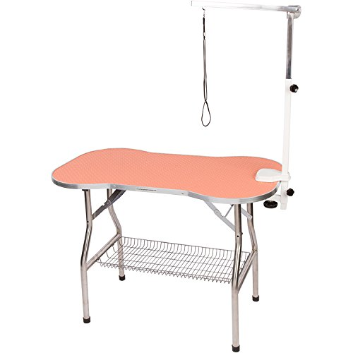 Flying Pig Grooming Frame Table with Arm/Noose/Tray, Orange, 38 L x 22 W x 31.5 H (Color: Orange, Tamaño: 38 L x 22 W)