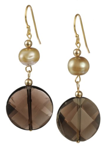 Smokey Quartz Faceted Coin and Dyed Golden Freshwater Pearl Drop Earrings with Gold Plated Sterling Silver Earwire