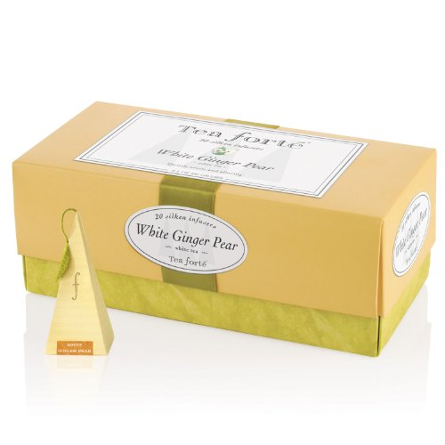 Tea Forte Ribbon Box - 20 Silken Pyramid Infusers - White Ginger Pear