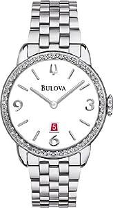 Bulova 96R183 Ladies Diamonds Stainless Steel Case and Bracelet white Dial Watch
