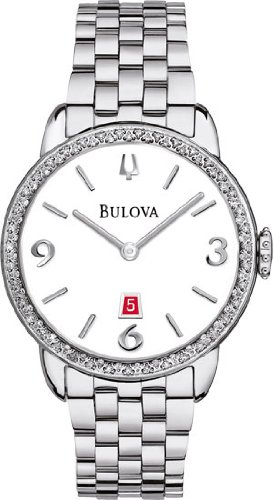 Bulova Diamond White Dial Stainless Steel Ladies Watch 96R183
