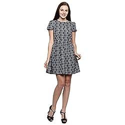 PRAKUM Women's Chiffon Regular Fit Dress Black & White (XXX-Large)