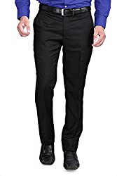 RG DESIGNERS Black Slim Fit mens formal trousers DN10000