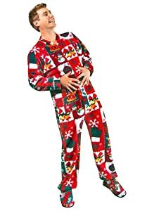 Ugly Christmas Sweater Footed Pajamas for Adults Fleece with Drop Seat by PajamaCity