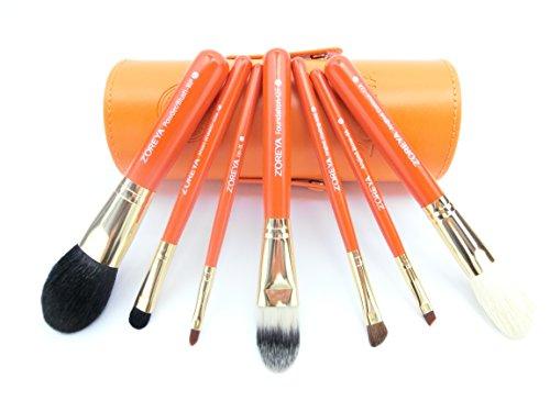 高級 メイク ブラシ 7本 セット 専用 収納 ケース 付き オレンジ