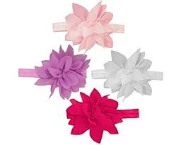 Baby Flower Headband for Infant, Baby, Toddler. Chiffon Flower. Chandra. (Value Pack 1)