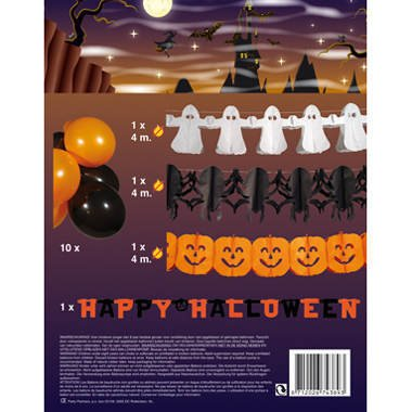 BOLAND 14 teiliges Halloween Set, 4 Girlanden + 10 Luftballons