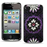 Spot Diamond Rhinestone Purple White Flower on Black Design Snap-On Protector Hard Cover Case Compatible for Apple Iphone 4 (AT&T, VERIZON) Reviews