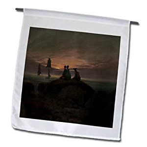 BLN Sailing Ships and Seascapes Fine Art Collection - Moonrise at the Sea by Caspar David Friedrich - 12 x 18 inch Garden Flag (fl_126777_1)