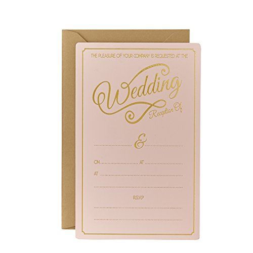 Ginger Ray Evening Wedding Reception Pastel & Gold Foiled Invitations (10 Pack), Pink
