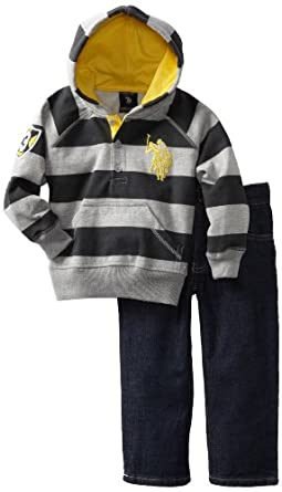 U.S. POLO ASSN. Little Boys' Hoody with Jean, Grey, 4T