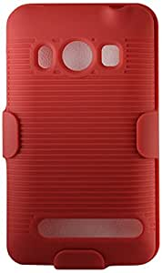 Reiko Premium Durable Snap-On Holster Combos for HTC EVO 4G - Retail Packaging - Red