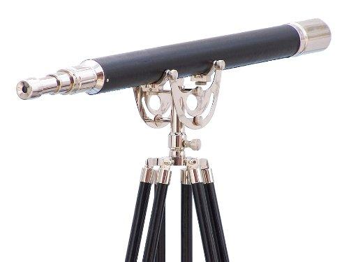 """Floor Standing Chrome/Leather Anchormaster Telescope 65"""" - Chrome Telescope"""