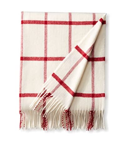 Foxford Windowpane Lambswool Throw, Tomato/Bone
