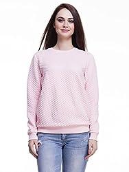 Femella Fashion's Pink Crew Neck Quilted Sweatshirt