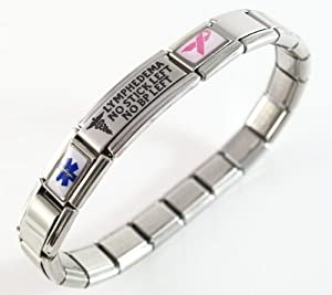 Lymphedema Medical ID Alert Italian Charm Bracelet Left