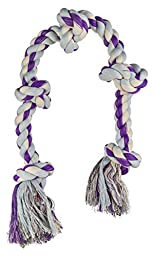 Mammoth Flossy Chews Cottonblend 5-Knot Rope Tug, Purple/Grey, X-Large, 36 Inch