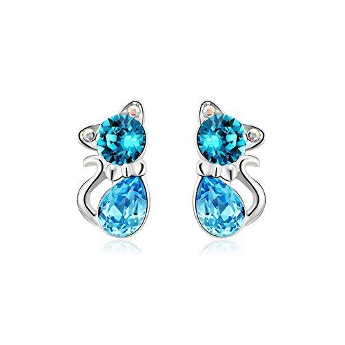Yparah-Orecchini a forma di gatto, colore: blu, con cristalli di Swarovski, da donna