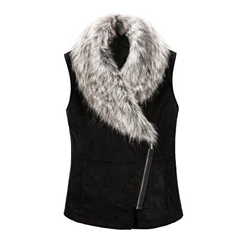 JollyChic Women's Oblique Zip Large Faux Fur Collar Suedette Vest Waistcoat (8, Black) (Fur Trim Hood Vest compare prices)