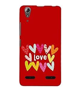 Multicolour Love Hearts 3D Hard Polycarbonate Designer Back Case Cover for Lenovo A6000 :: Lenovo A6000 Plus :: Lenovo A6000+