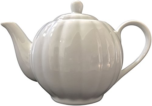 Pumpkin White China Tea Pot, 6 Cup (White Modern Teapot compare prices)