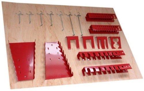 Werkzeughaltersortiment-fr-Euro-Lochwand-mit-22-Teilen-in-Rot-Silber