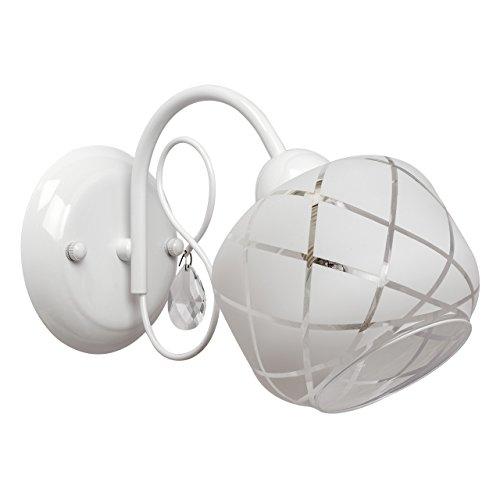 applique mural style moderne support en métal couleur blanc plafonnier en verre avec le designe géometrique designe moderne raffiné, applique salon ou chambre pour bas plafond ampoules non-incl 1x 60W E14 230 V