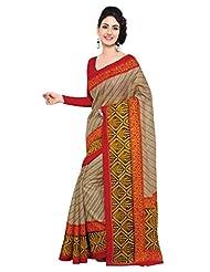 Triveni Indian Beautiful Vine Motif Printed Art Silk Saree