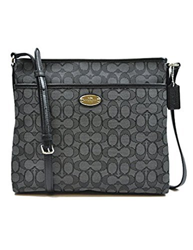 COACH [Coach Ladies Signature file bag Black Smoke / Black F36182 SVDK6