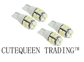 Cutequeen 4PCS LED Car Lights Bulb White T10 3528 20-SMD 194 168 (pack of 4)