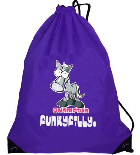 Funkyfilly® Girls School Drawstring Pony 'Champion Horse Rider' Purple Swim Gymsac Grooming Kit Bag To Wear Over The Shoulder. Size 45 X 34 Cms front-27049