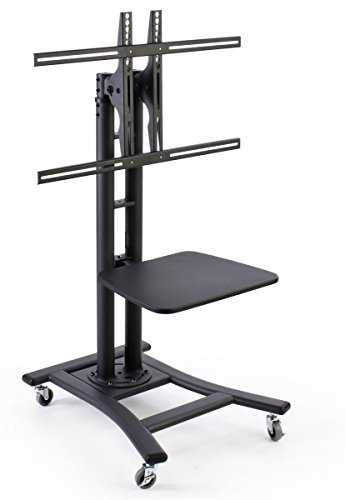 Mobile TV Stand for 37 to 70 inch Flat Screen Monitor, Height-Adjustable, Shelf Included - Black (Portable Tv Stands compare prices)