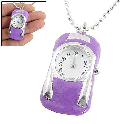 Rosallini Lady Silver Tone Chain Purple Car Shape Necklace Watch