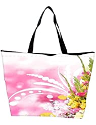 Snoogg Floral Corner Border With Blurred Background Waterproof Bag Made Of High Strength Nylon