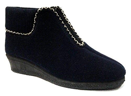 DAVEMA pantofole a stivaletto invernali da donna mod.588 blu (41)