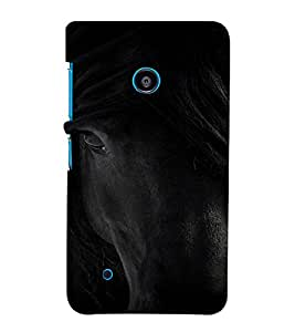 PrintVisa Black Beauty Horse Animal Design 3D Hard Polycarbonate Designer Back Case Cover for Nokia Lumia 530