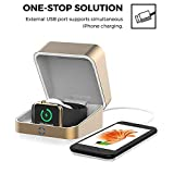 2018 MFI Apple Watch Aluminum Wireless Magnetic & USB Charger Case / 5500mAh Portable Power Bank iWatch Charging Dock Station for Apple Watch, iPhone X, 10, 8, Android (Color: Gold)